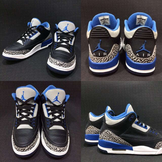 Air Jordan 3 AJ3 Sporty Blue 黑 運動 藍 爆裂紋