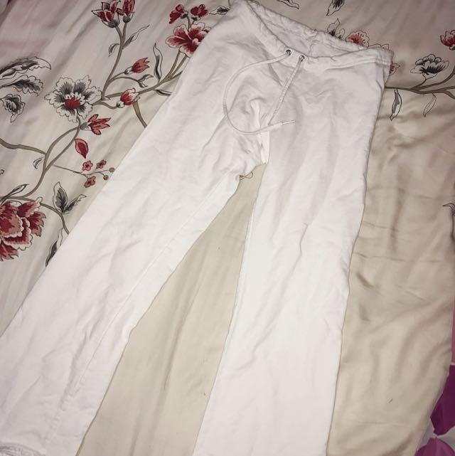 American Apparel White Fleece Pants