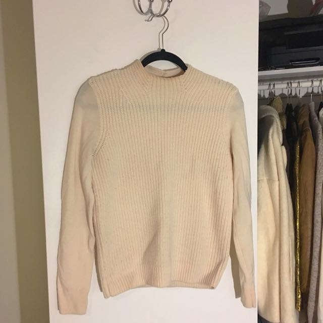 Babaton Cream Merino Wool Knit Sweater