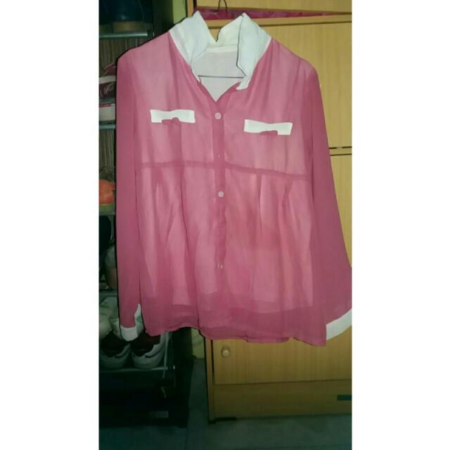 Baju Sifon Pink Pita