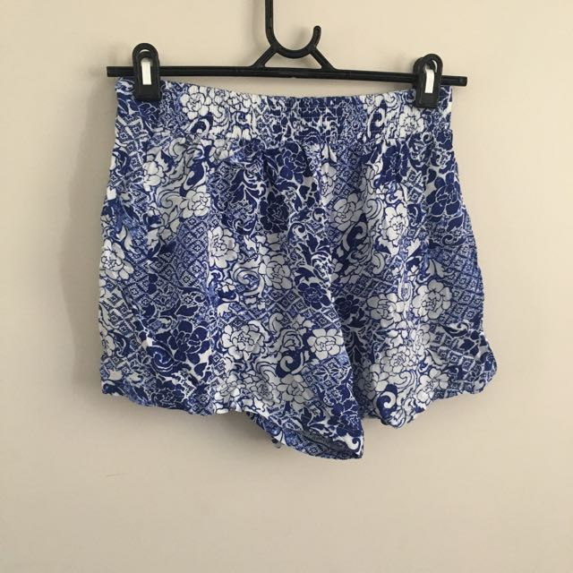 Barely Used Blue Patterned Shorts