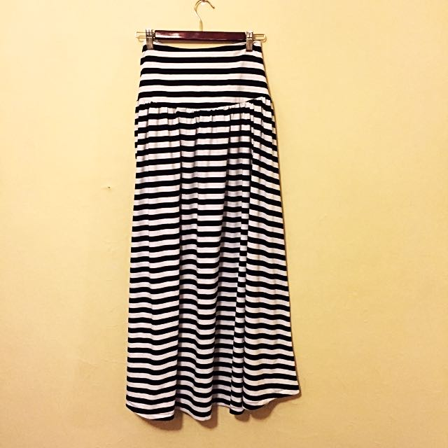 Black And White Stripe Maxi Skirt