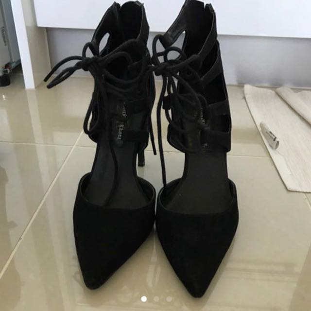 Black LACE Up Heels Size 7