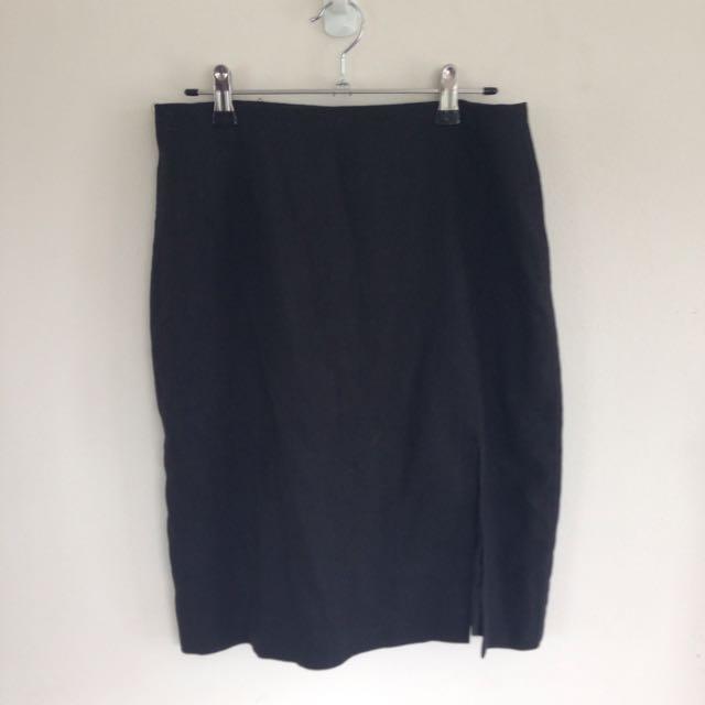 Black Work Pencil Skirt With Split
