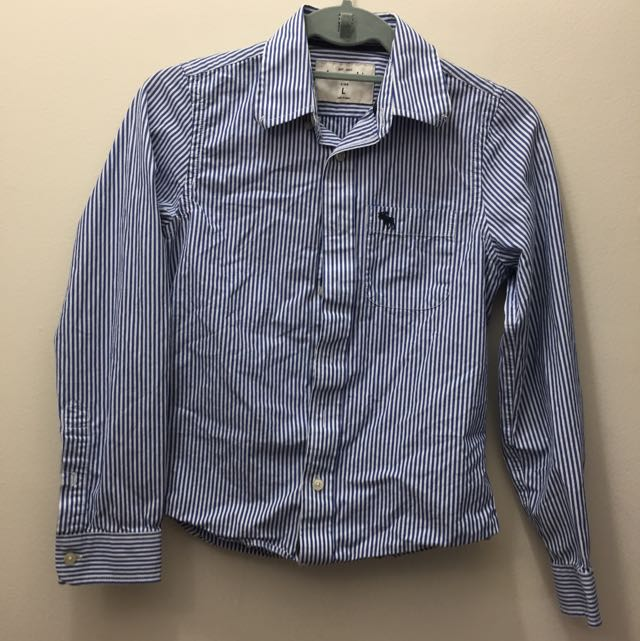 Blue And White Stripe Abercrombie & Fitch Dress Shirt
