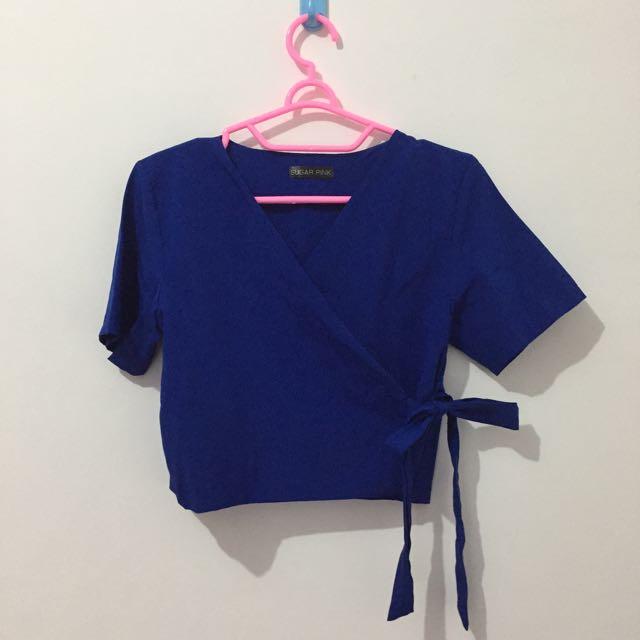 Blue Kimono Crop Top