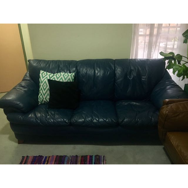 Blue Leather Couch Sofa