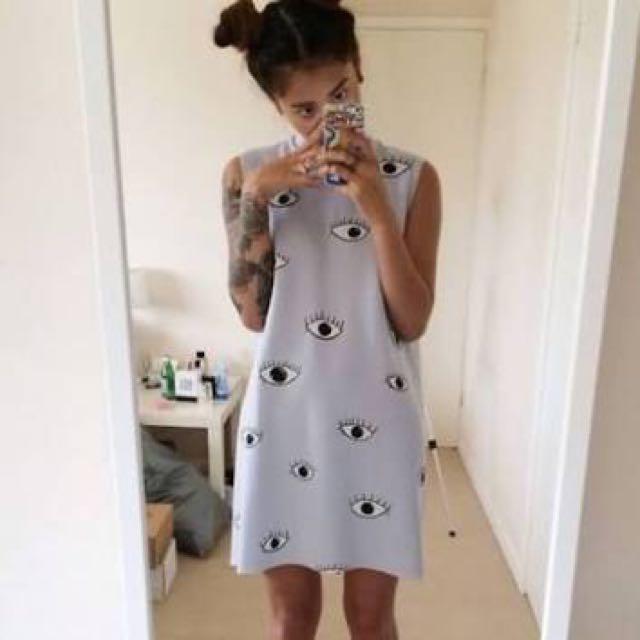 CHOIES Eye Print Sleeveless Dress