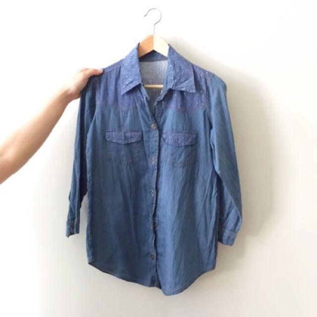 Denim Shirt With Metal Studs