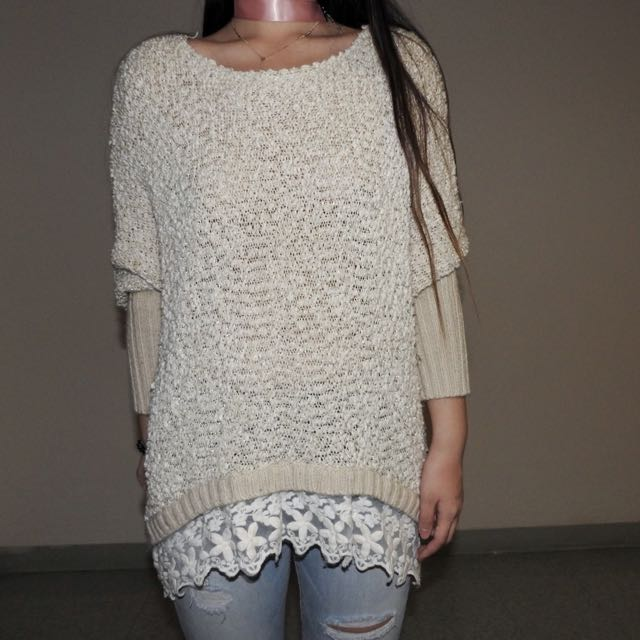 Embroidered Detail Cream Baggy Sweater