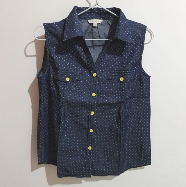Et Cetera Blue Denim Polkadot Shirt Sleeveless Size Small