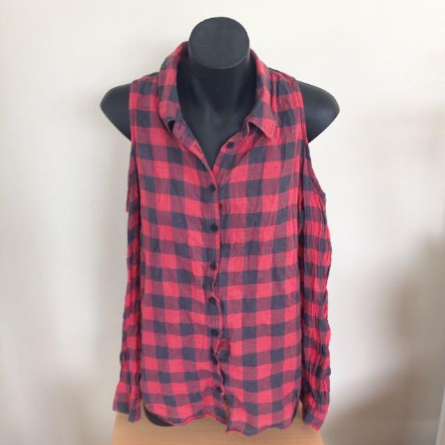 Flannel Shoulder Cut Out Shirt