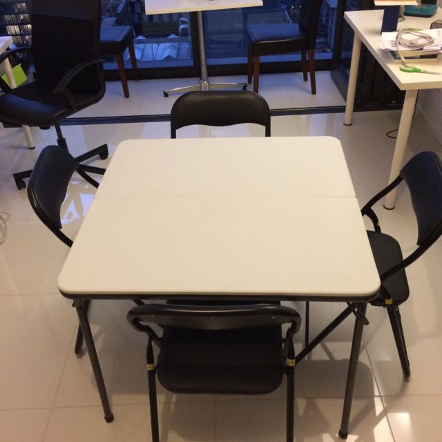 Foldable Table And Four Cushioned Chairs