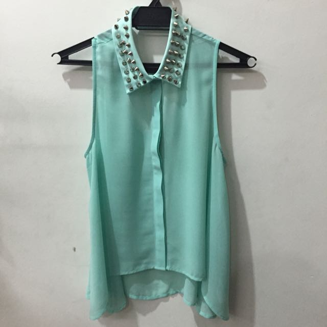 Forever 21 Spiked Collar Sleeveless Top