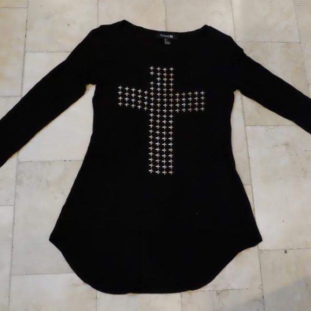 Forever 21 Studded Cross Dress Shirt