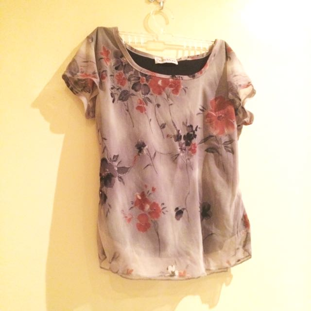 Grayish Floral Shirt Blouse