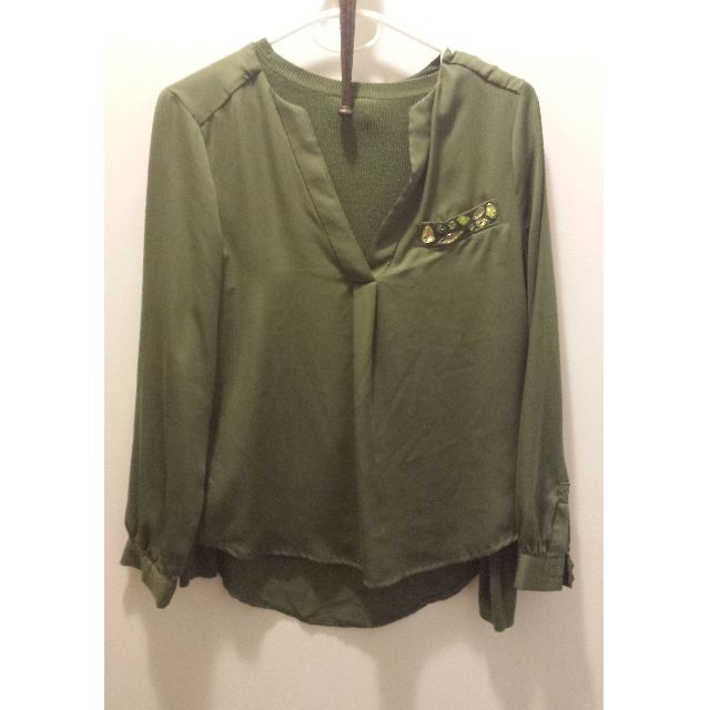 Green Blouse with Jewel Embellishments
