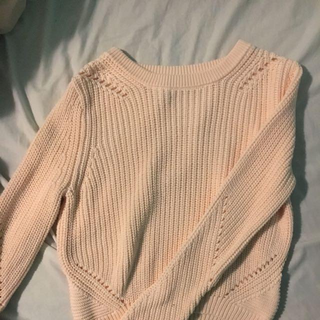 H&M pastel orange/salmon chunky sweater