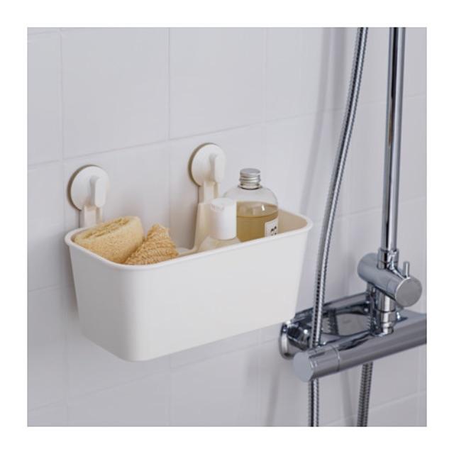 IKEA 白色 儲物籃附吸盤 STUGVIK