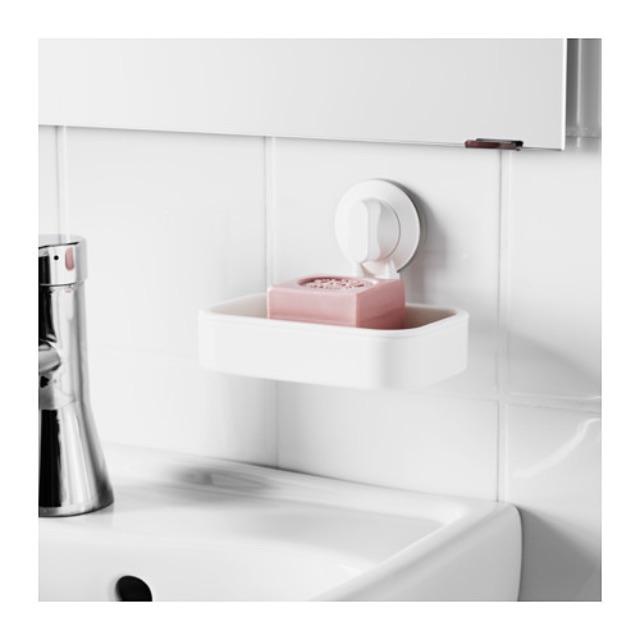 IKEA 白色香皂盤附吸盤 STUGVIK