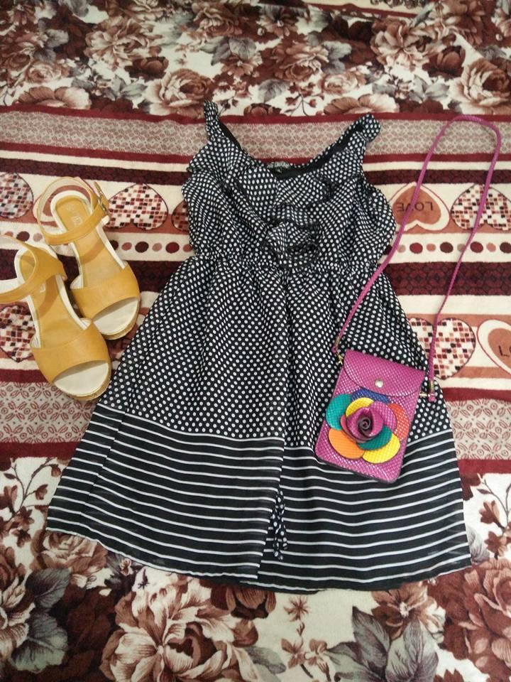 Polka dots black free flowing dress