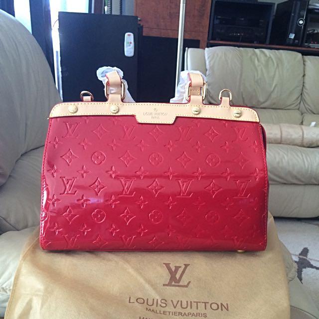 Red Alma Bag! Vernis Style Louis Vuitton Brea Bag