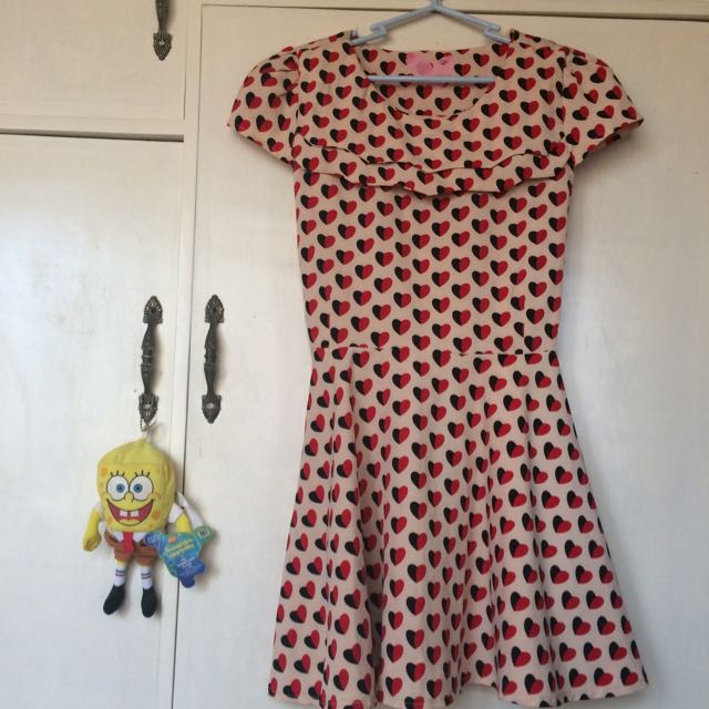 red and black heart dress