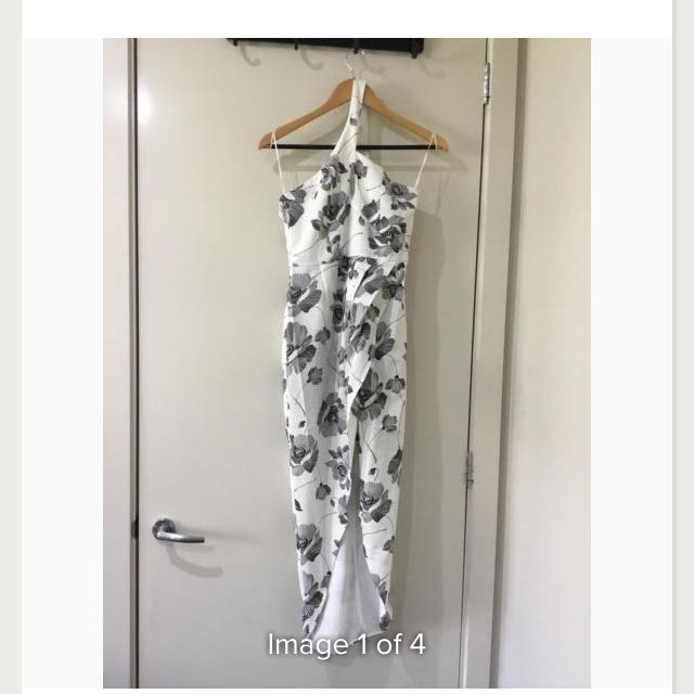 WORN ONCE Runaway The Label Black And White Floral Dress - Size S