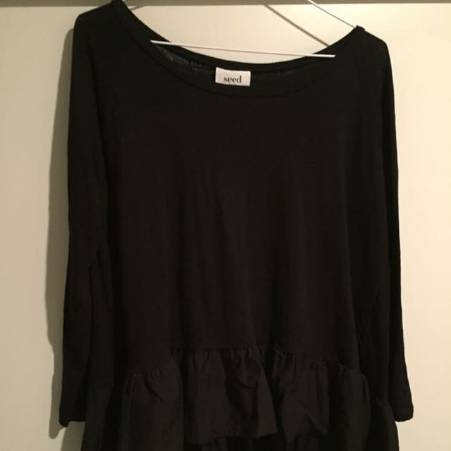 SEED heritage Black Frill Top