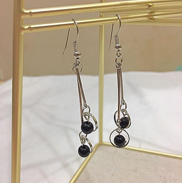 Silver Black Earrings