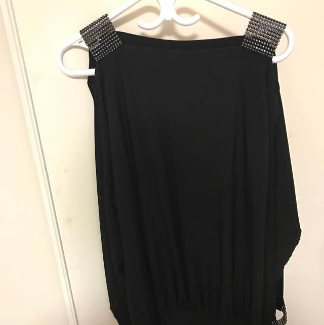 Slit Long Sleeves Black Dress