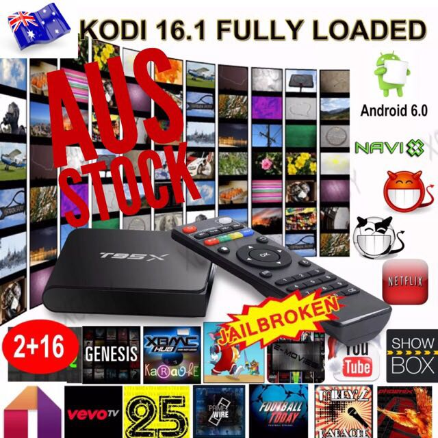 T95X ANDROID 6 TV BOX 2/16GB FULLYLOADED MOVIES TV SPORTS UFC EPL