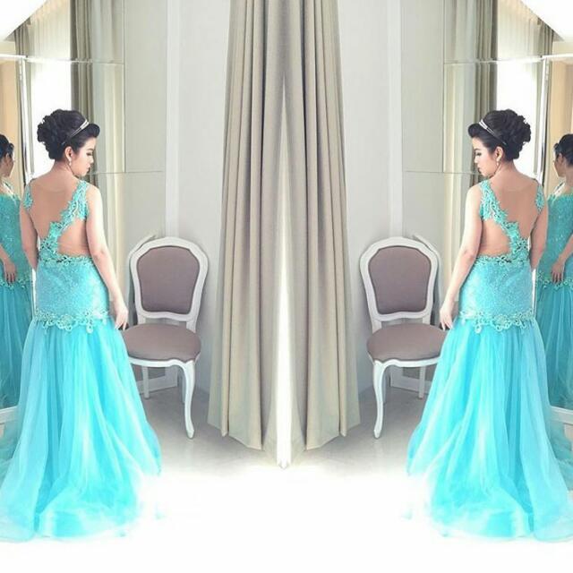 Tiffany Blue Mermaid Dress with Swarovski