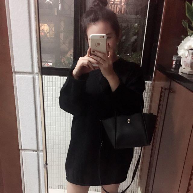 (全新)V領 粗針織 寬袖 捲邊 針織洋裝 (售黑色)