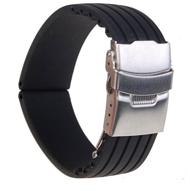 4e491fe5d18 Waterproof Silicone Sports Watch Band 22mm (Black