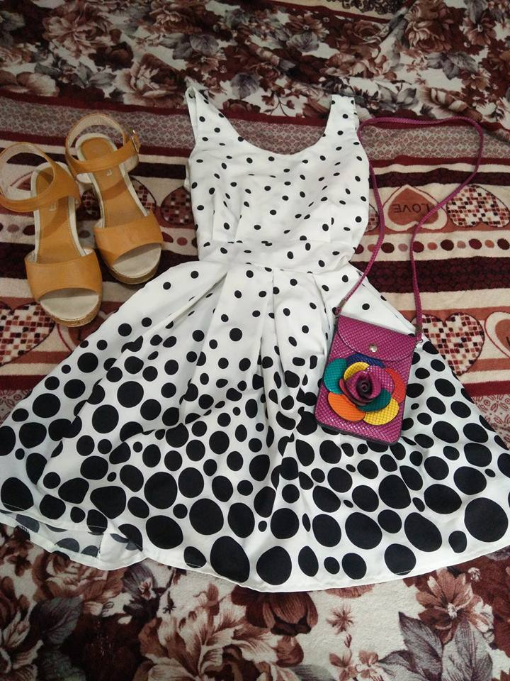 White and Black Polka Dots Free Flowing Dress