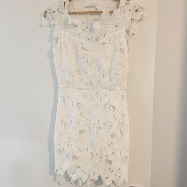 White Lace Crochet Dress M /10