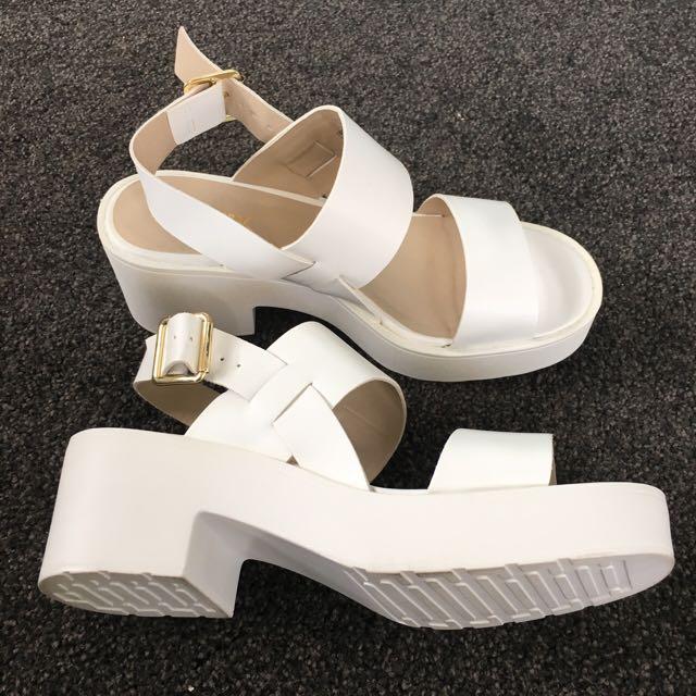 White Lipstik Block Heels
