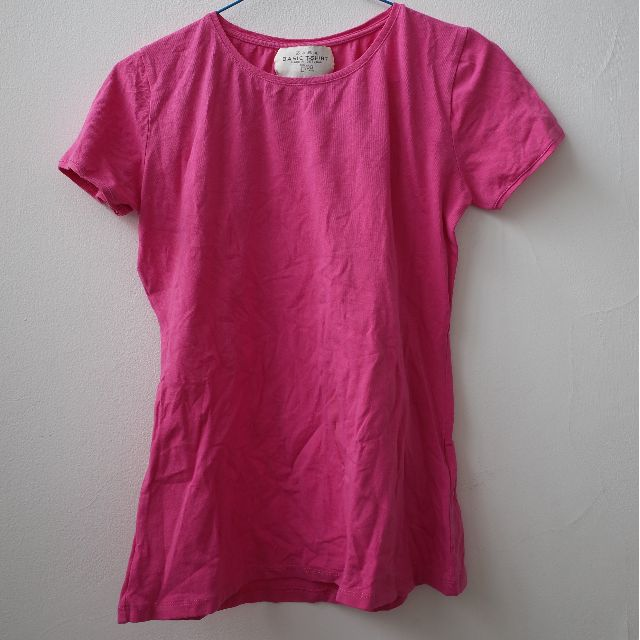 Zara Basic T-Shirt Pink Fuschia Short Sleeve