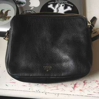 Fossil Black Leather Small Side Bag