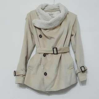 日本製/騎士風毛呢腰帶修身外套/真實口袋