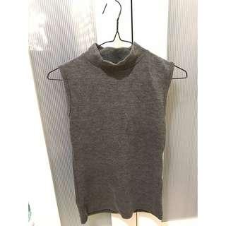 (全新)針織 無袖 小高領 灰色