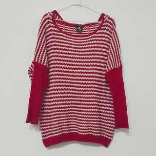 65%棉/粗針織條紋連帽寬鬆毛衣/落肩毛衣/紅色