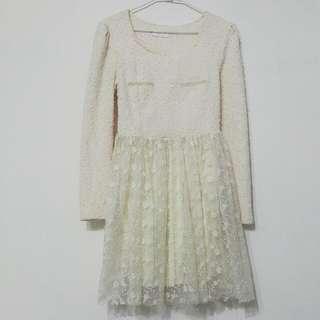 花朵刺繡蕾絲亮片長袖洋裝/伴娘服/小禮服/側拉鍊