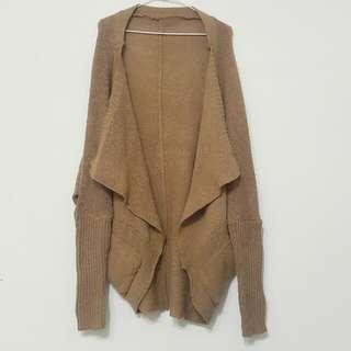 粗針織口袋寬鬆毛衣外套/落肩外套/駝色/蝙蝠袖