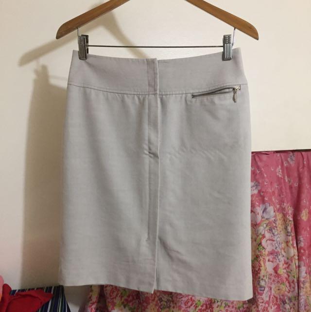 #022 Beige office Skirt