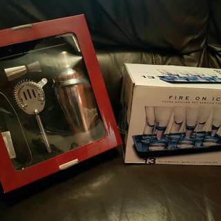 BNIB 5 Piece Bar Set And Vodka Chiller Set