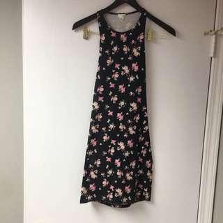 Black Open Back Floral Dress