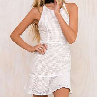 White And Nude Mesh Dress