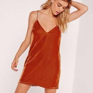 Burnt Orange Velvet Slip Dress